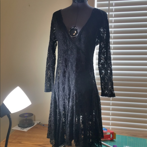 Free People Dresses & Skirts - Free People Lace Black Long Sleeve V-neck Dress
